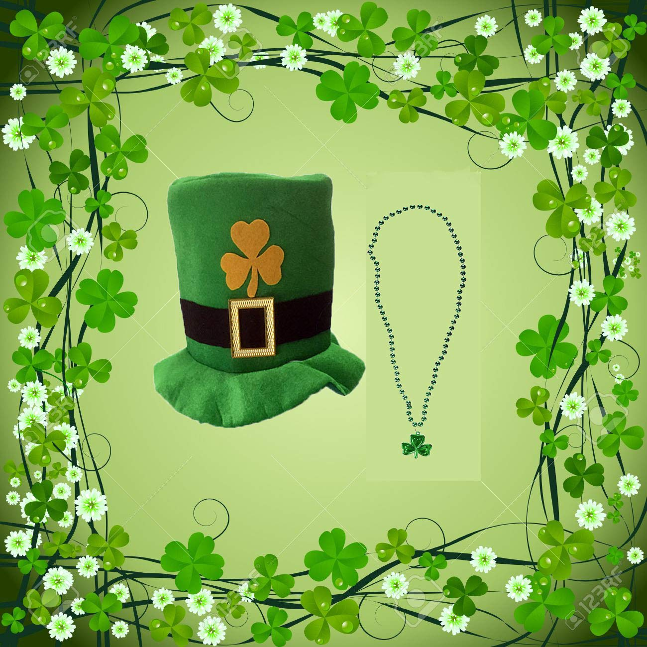 St. Patrick's Day Hat Shamrock Party Accessory Costume Top Hat for Men and Women,and teenagers