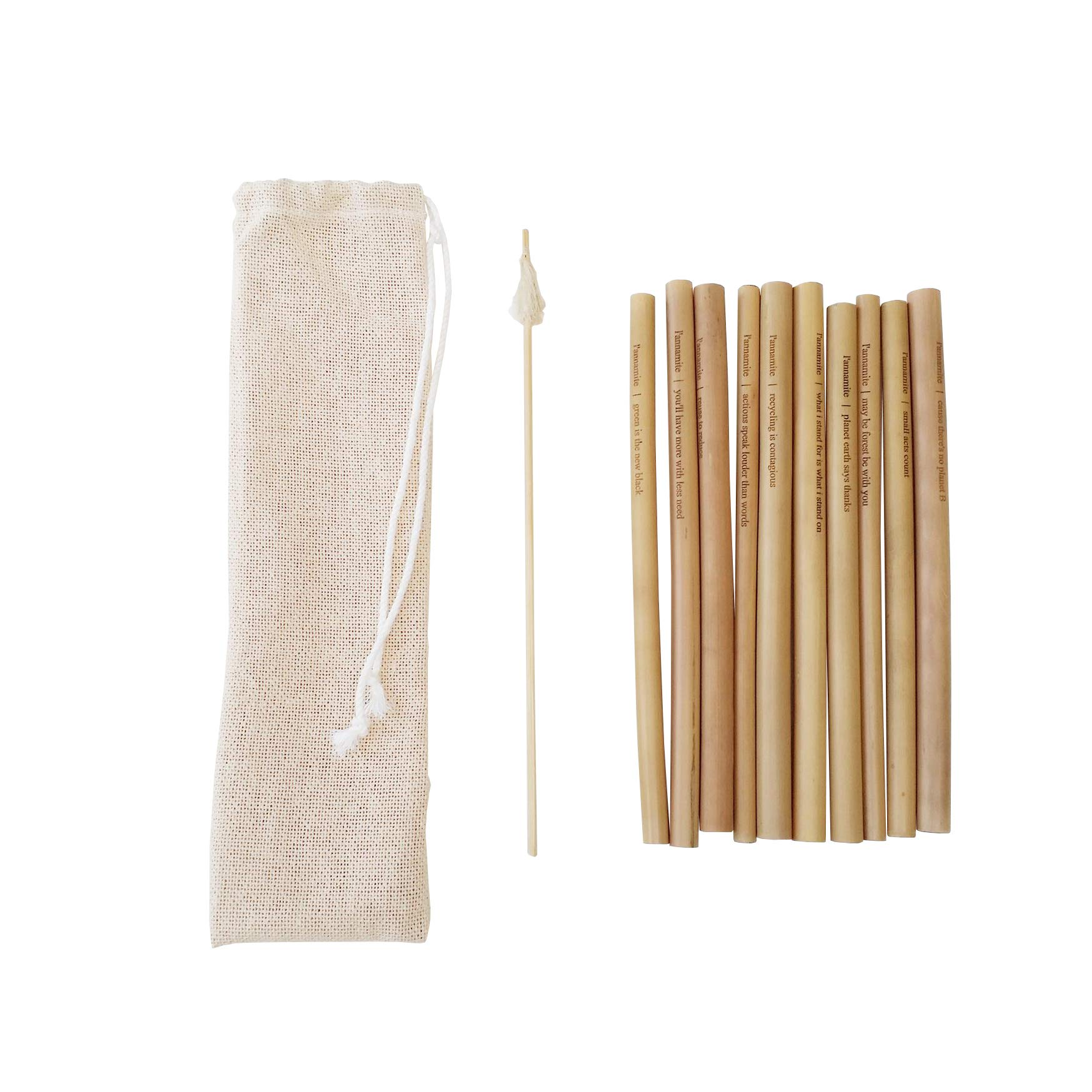 L'annamite Organic Bamboo Drinking Straws - with Quotes - Reusable – Hand-Crafted Natural Alternative to Plastic– Set of 10