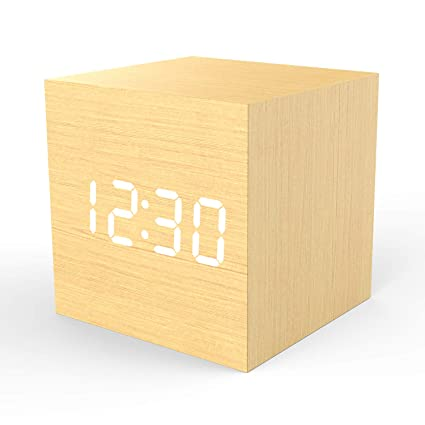 Wooden Digital Alarm Clock Cube Little Clock, Topacom LED Table Clock USB/Battery Powered for Heavy Sleepers, Kids, Bedrooms with Adjustable ...