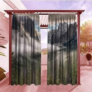 AndyTours – Cortina sencilla de decoración de campo, espejo de lago en yosemita imagen con montañas, árboles de lakeside, paisaje acuático, oscurecimiento de habitación, reducción de ruido, color azul turquesa: Amazon.es: Jardín