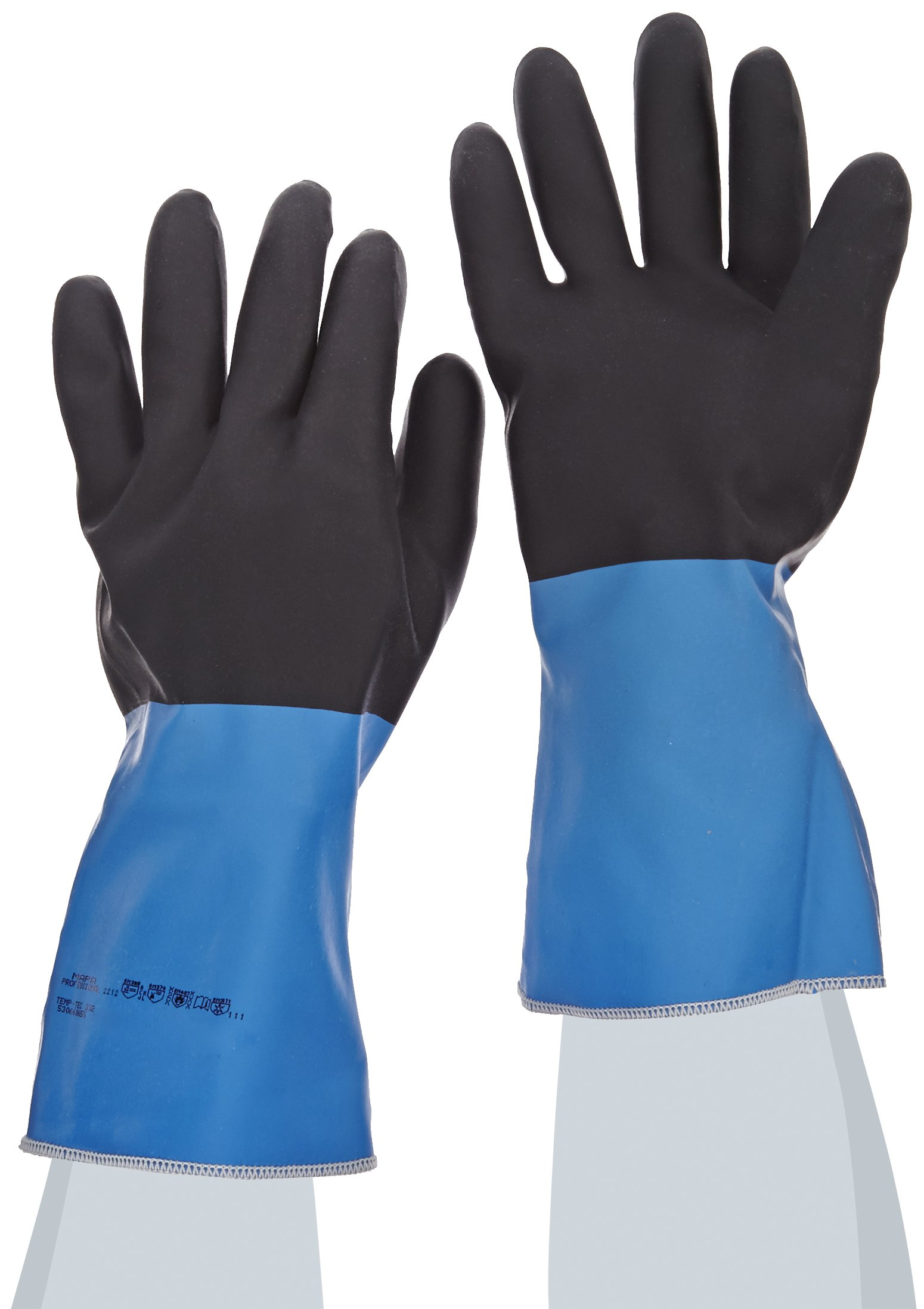 MAPA Temp-Tec NL-56 Neoprene Thermal Insulation Heavyweight Glove, Chemical Resistant, 14'' Length, Size 9, Blue/Black (Case of 6 Pairs) by MAPA Professional (Image #1)