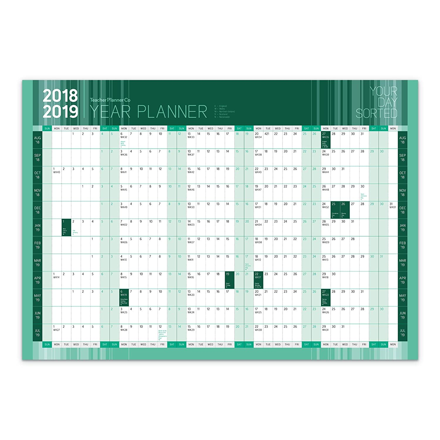 Grande A1 2017 – 18 accademico/studente Mid year Wall planner calendario Green Teacher Planner Company Ltd