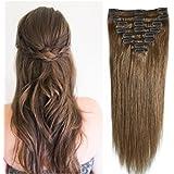 20-60cm 65-120g 8 Ciocche Extension Capelli Veri Clip Remy Human Hair Full Head Set