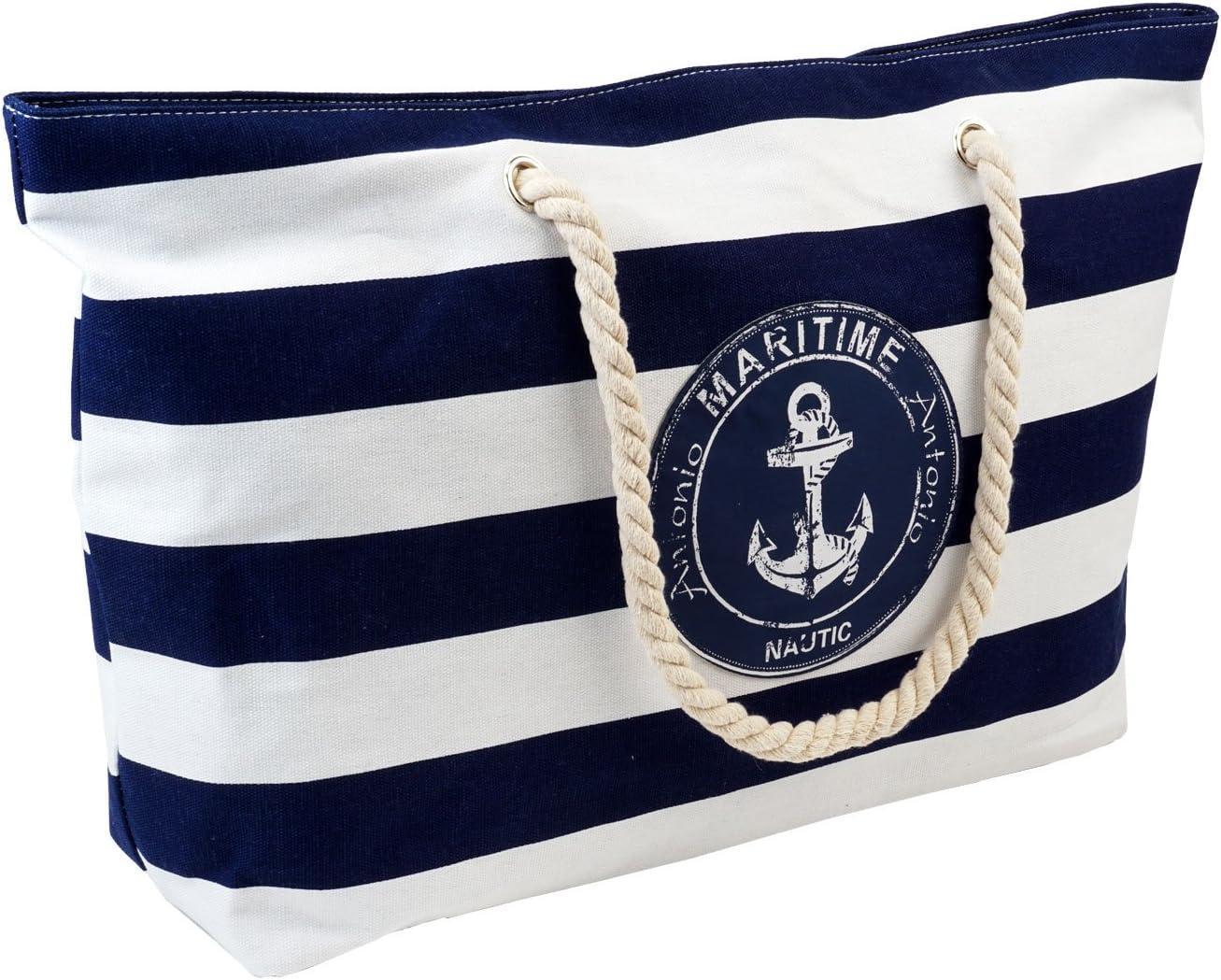 maritim Anker Shoppingtasche beige-blau robust Freizeit