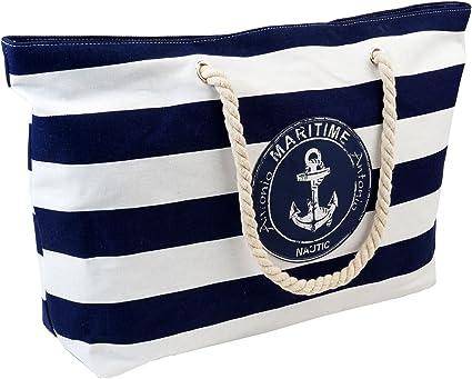 Strandtasche XXL blau,weiß im maritimen Look Badetasche Einkaufstasche Freizeittasche ideal für Ihren Urlaub (