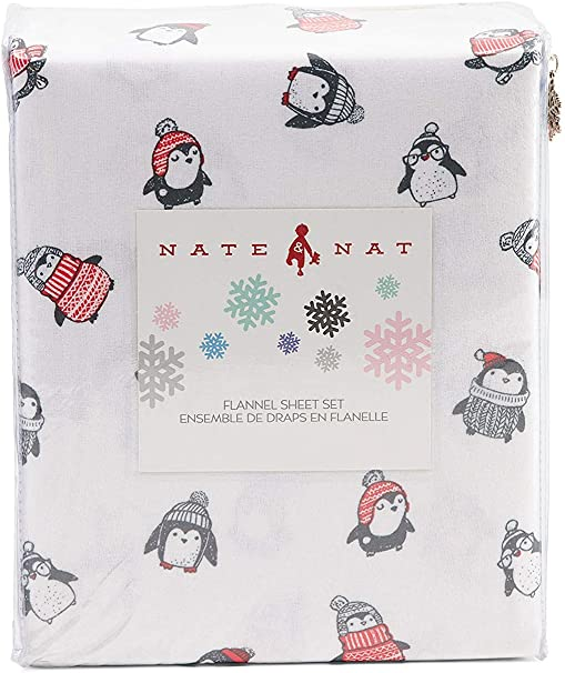 NATE /& NAT Winter Holiday Fun Pinguin Printed Flannel Sheet Set 100/% Cotton Charcoal Red Gray Girls Boys Warm Kids Bedding Full