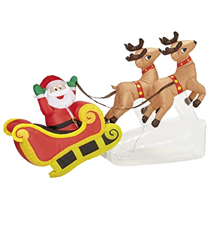 Slitta Babbo Natale Immagini.Import Babbo Natale Su Slitta Con Renne Decorazione