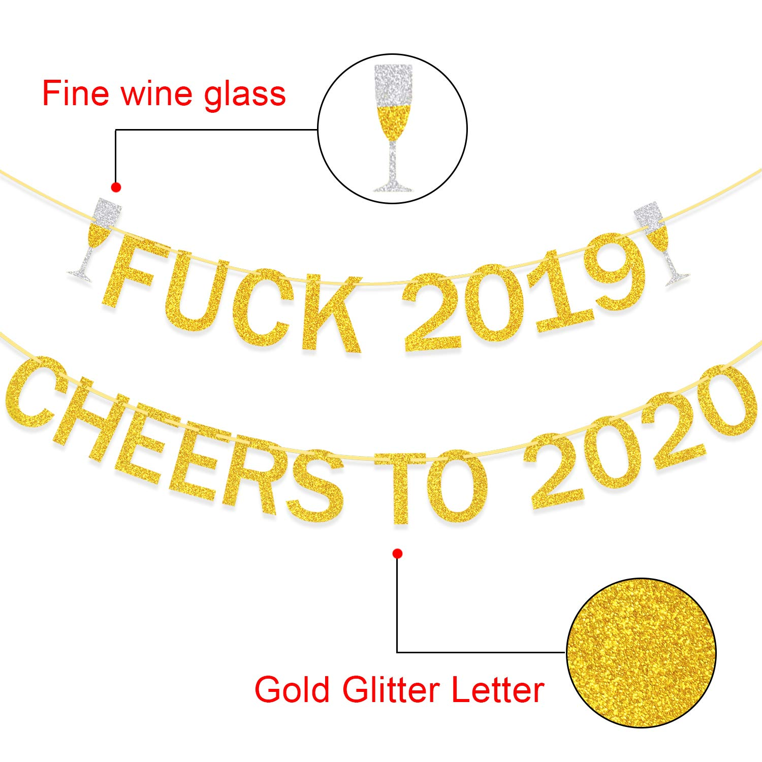 2020 New Years Eve Party Decorations New Year Banner 2019 Farewell Banner Farewell 2019 Cheers to 2020 banner Gold Glitter New Year Decorations New Year Party supplies