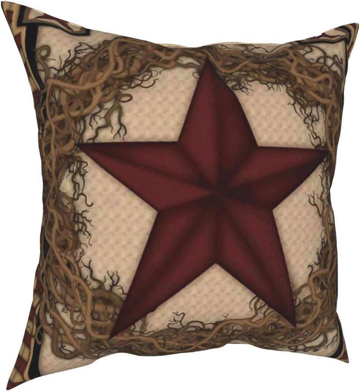 LASWEGA Pillowcase Cushion Cover Country Primitive Barn Star Wreath Luxury Throw Pillow Covers Home Decor for Couch Sofa Bedroom Living Room 18 X 18 Inch