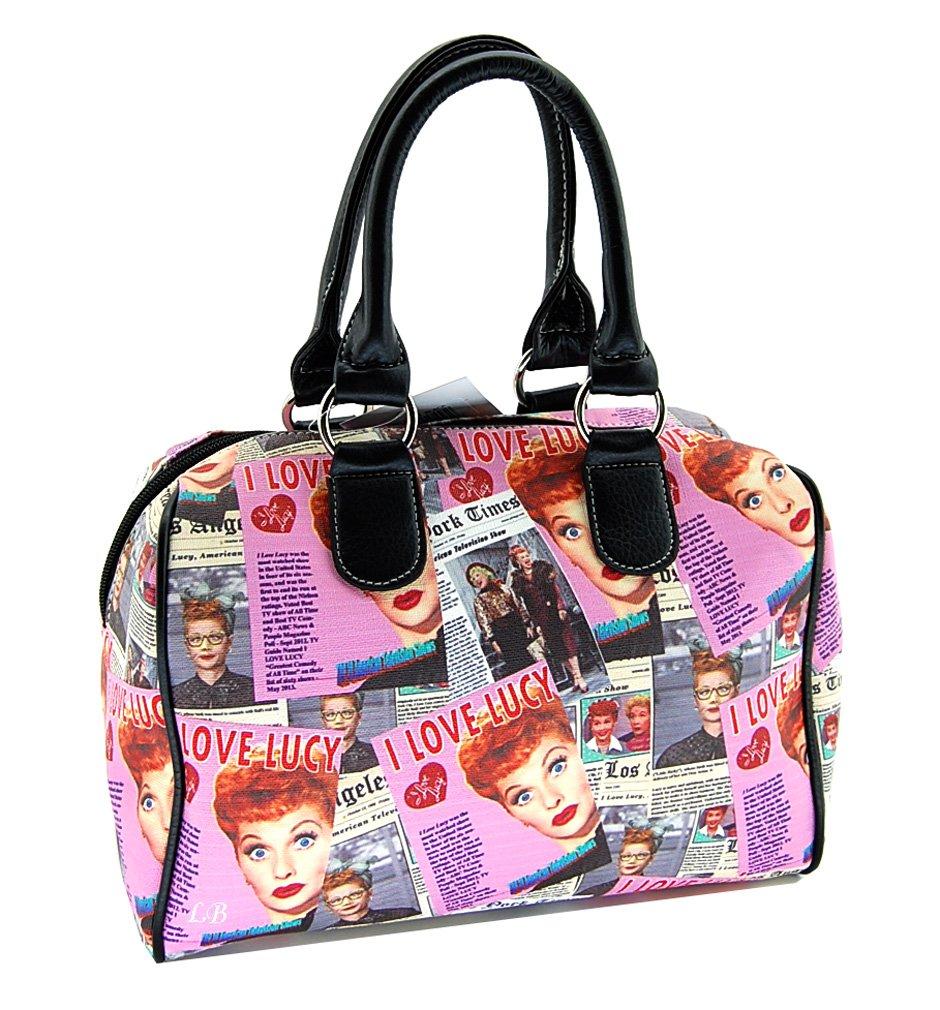 I Love Lucy Medium Satchel Purse, Collage (Pink)