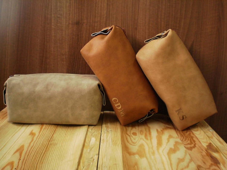 Personalized bag, Dopp kit, Zipper cosmetic pouch, Shaving case, Toiletry bag, Makeup, Groomsman, Wedding present, Mens travel bag, Vegan leather