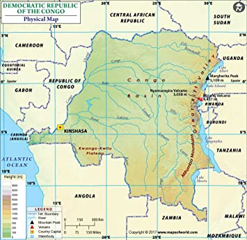 Amazoncom Congo Physical Map 36 W x 3504 H Office Products