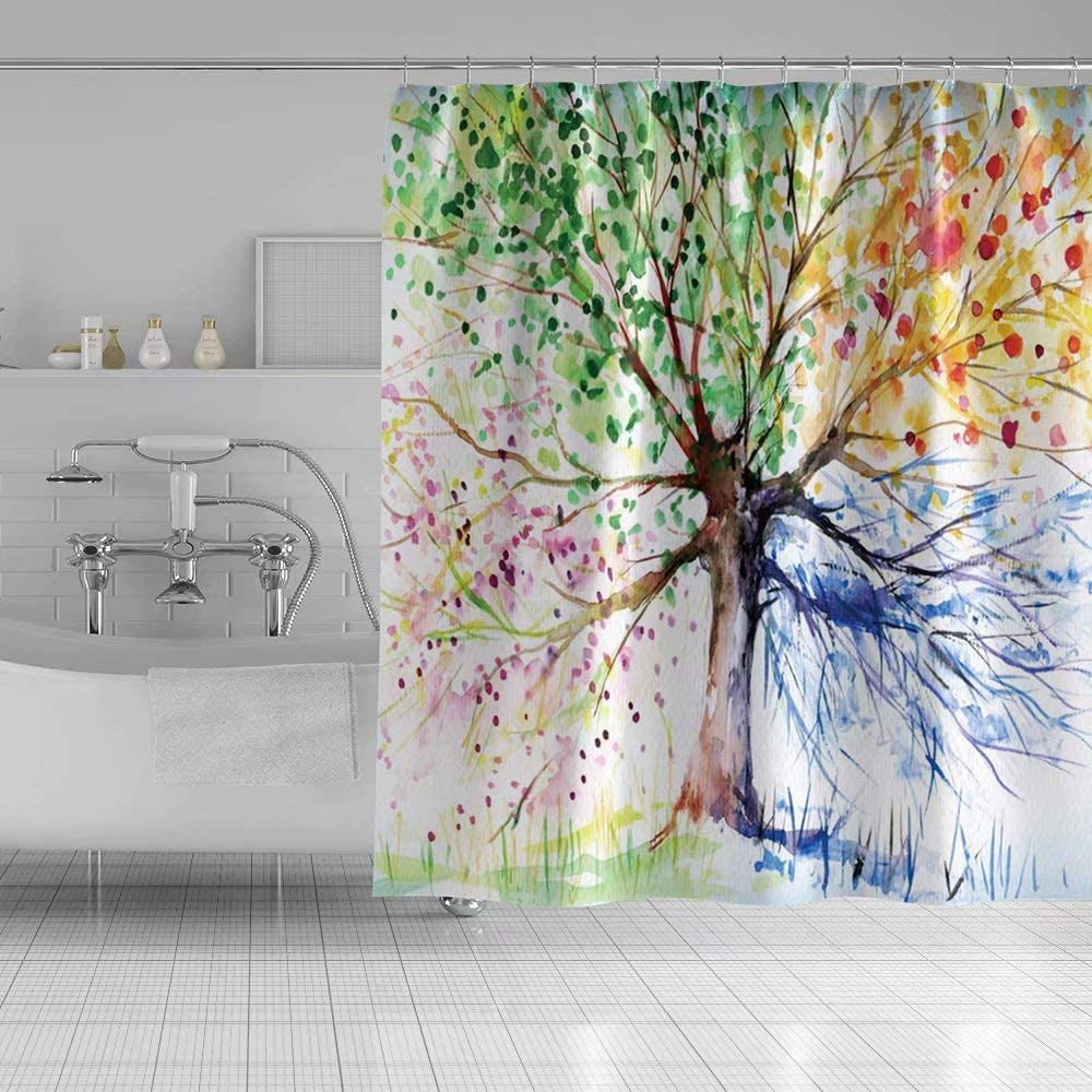 Qinunipoto 60x72inch Tree Shower Curtain Plants Abstract Multicolor Leaf Pattern Beautiful Flowers Watercolor Bathroom Curtain for Guest Kids Modern Home Bathroom Decor Bathtub Waterproof Polyester