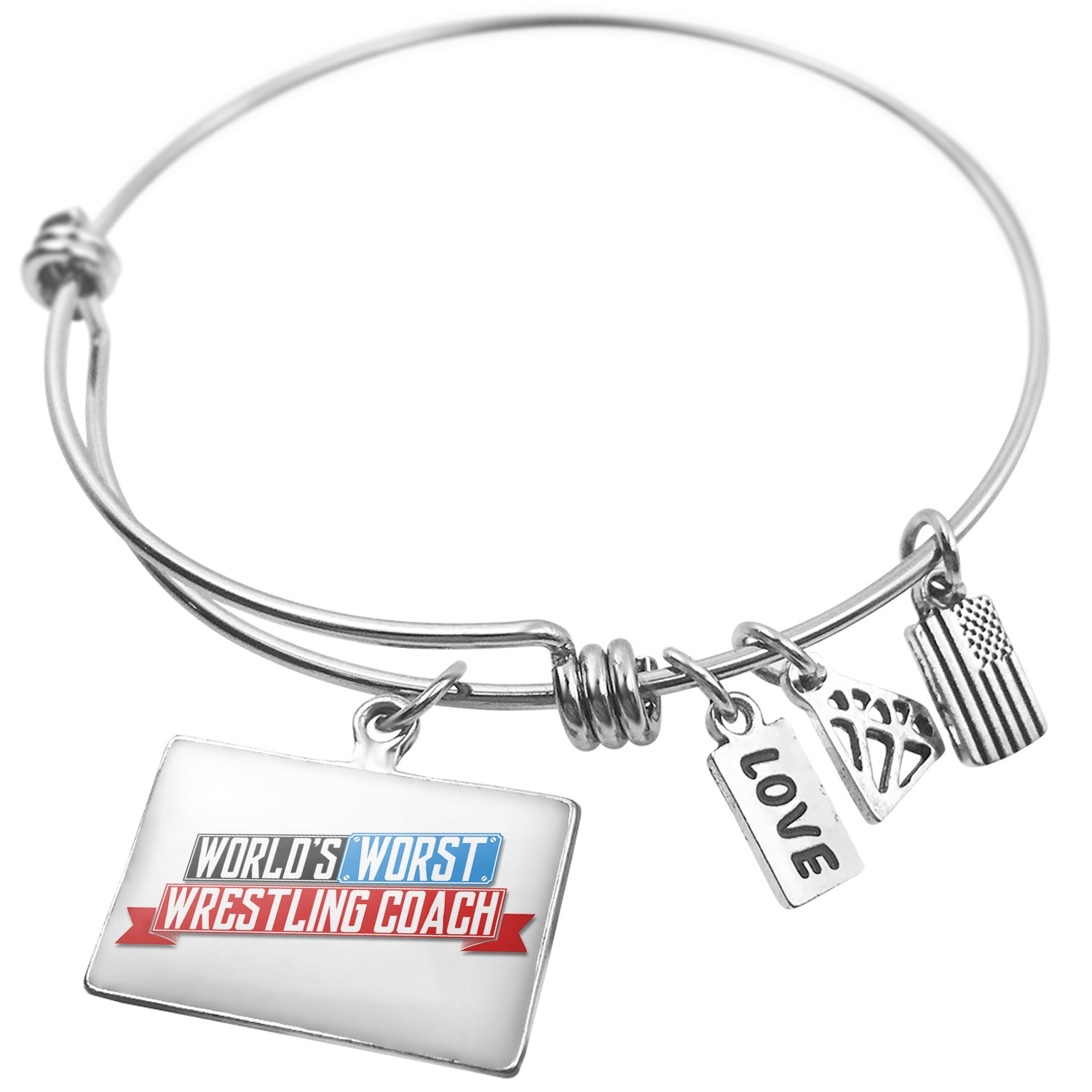 Expandable Wire Bangle Bracelet Funny Worlds worst Wrestling Coach - NEONBLOND