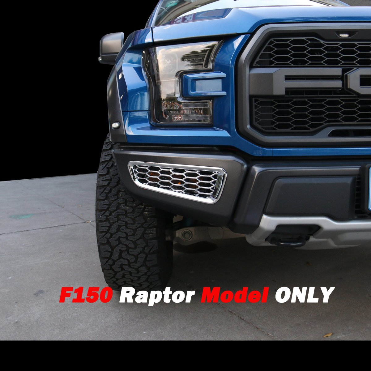 Front Fog Vent Black Justautotrim Honeycomb Front Bumper Bottom Fog Vent /& Side Fender /& Headlgiht Chrome Cover Trim for 2016 2017 2018 Ford F150 Raptor Accessories