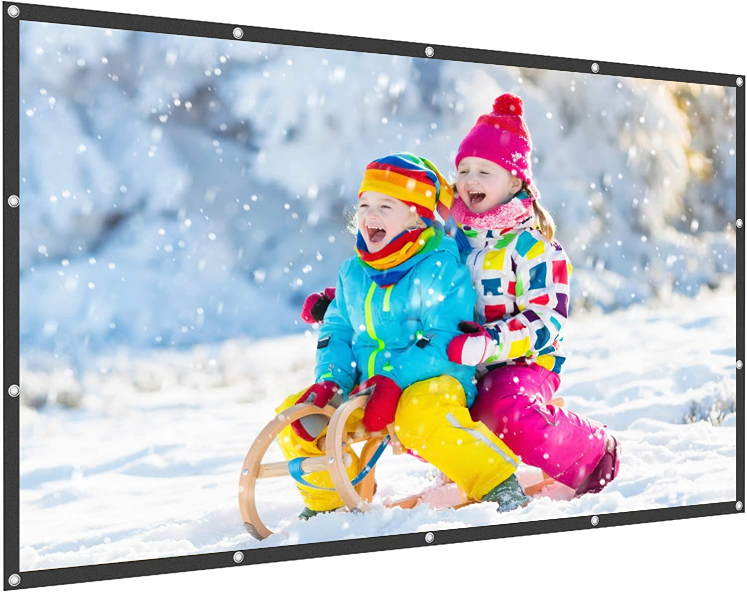 WOWOTO 150 inch Projection Screen 16:9 HD Foldable Wrinkle-Free Portable 3D Movies Screen for Home Theater Outdoor Indoor Support Double Sided Projection