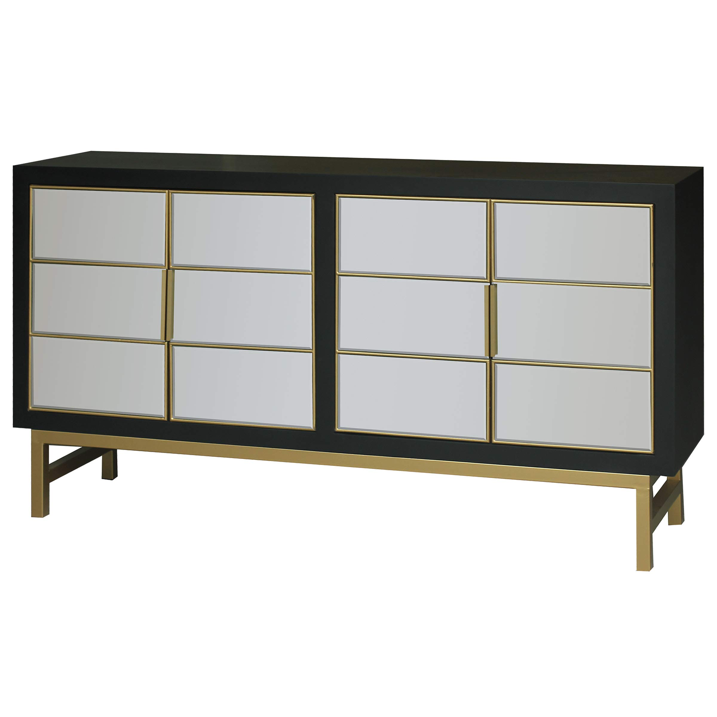 Collective Design Credenza, Satin Black/Mirrored by Collective Design