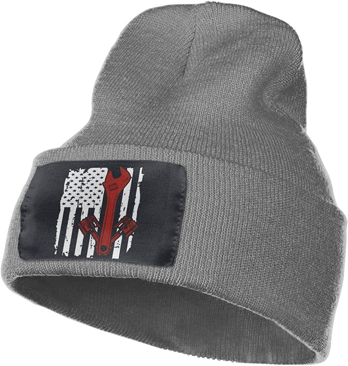 TAOMAP89 Mechanic American USA Flag Women and Men Skull Caps Winter Warm Stretchy Knitting Beanie Hats