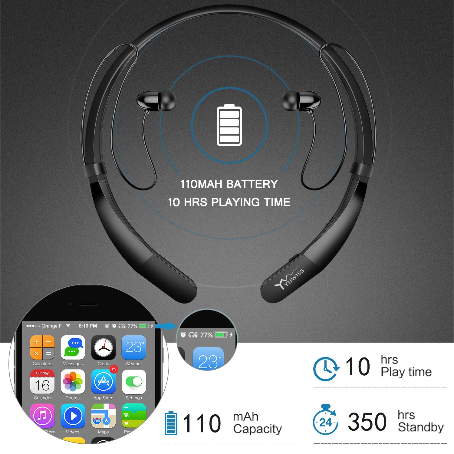 Yuwiss Bluetooth Headphones Neckband V4.2 Lightweight Wireless Headset Call Vibrate Alert Sport Earbuds w/Mic Earphones 10-Hour Playtime for Gym Running Compatible with iPhone Samsung Android (Black) by YW YUWISS (Image #4)