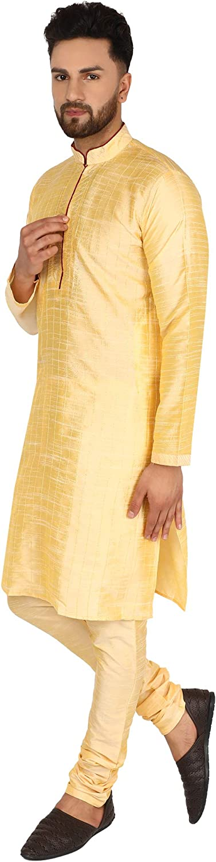 SKAVIJ Mens Tunic Dupion Art Silk Kurta Pajama Wedding Party Dress Set