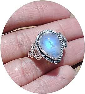 Amazon.com: Pear Shape Smooth Moonstone Ring Size US 8.25