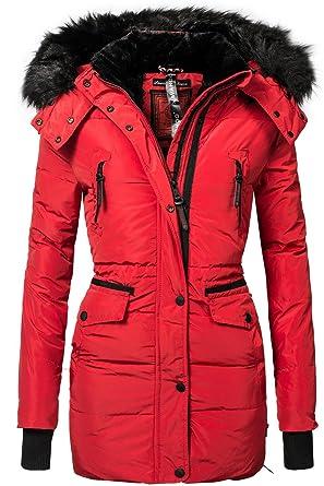 Abrigo de invierno para mujer, parka Sesa (producción vegana) 4 colores, XS-XXL rojo L: Amazon.es: Ropa y accesorios