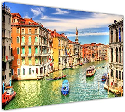 Italy Venice Grand Canal Canvas Prints Wall Art Framed Pictures Modern City Art Posters Size A3 16 X 12 40cm X 30cm Amazon Co Uk Kitchen Home