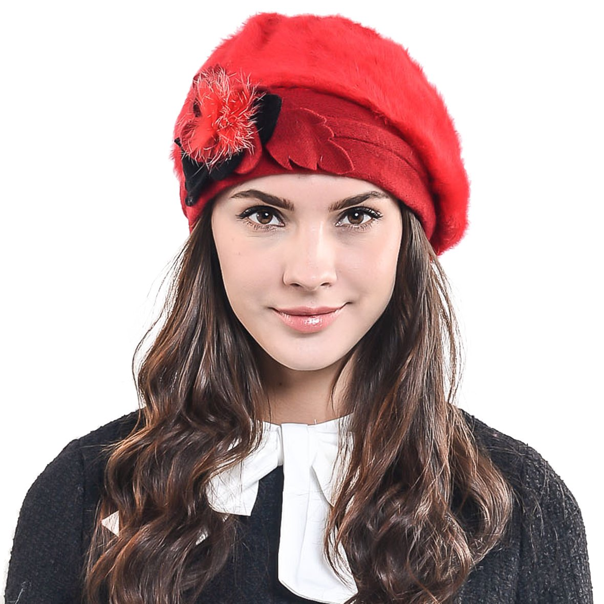 F/&N STORY Lady French Beret Wool Beret Chic Beanie Winter Hat Jf-br022
