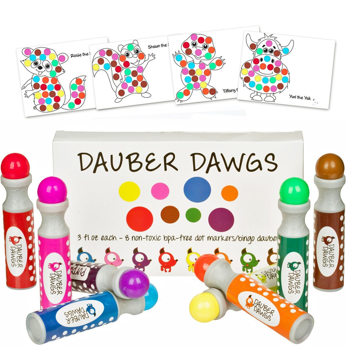 8-pack Washable Dot Markers / Bingo Daubers Dabbers Dauber Dawgs Kids / Toddlers / Preschool / Children Art Supply 3 Pdf Coloring eBooks = 100 Activity Sheets To Do! Cameron Frank Products