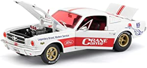 """1965 Ford Mustang Fastback 2+2""""Crane Cams White with Red Stripes Limited Edition to 5,880 Pieces Worldwide 1/24 Diecast Model Car by M2 Machines 40300-68 A"""