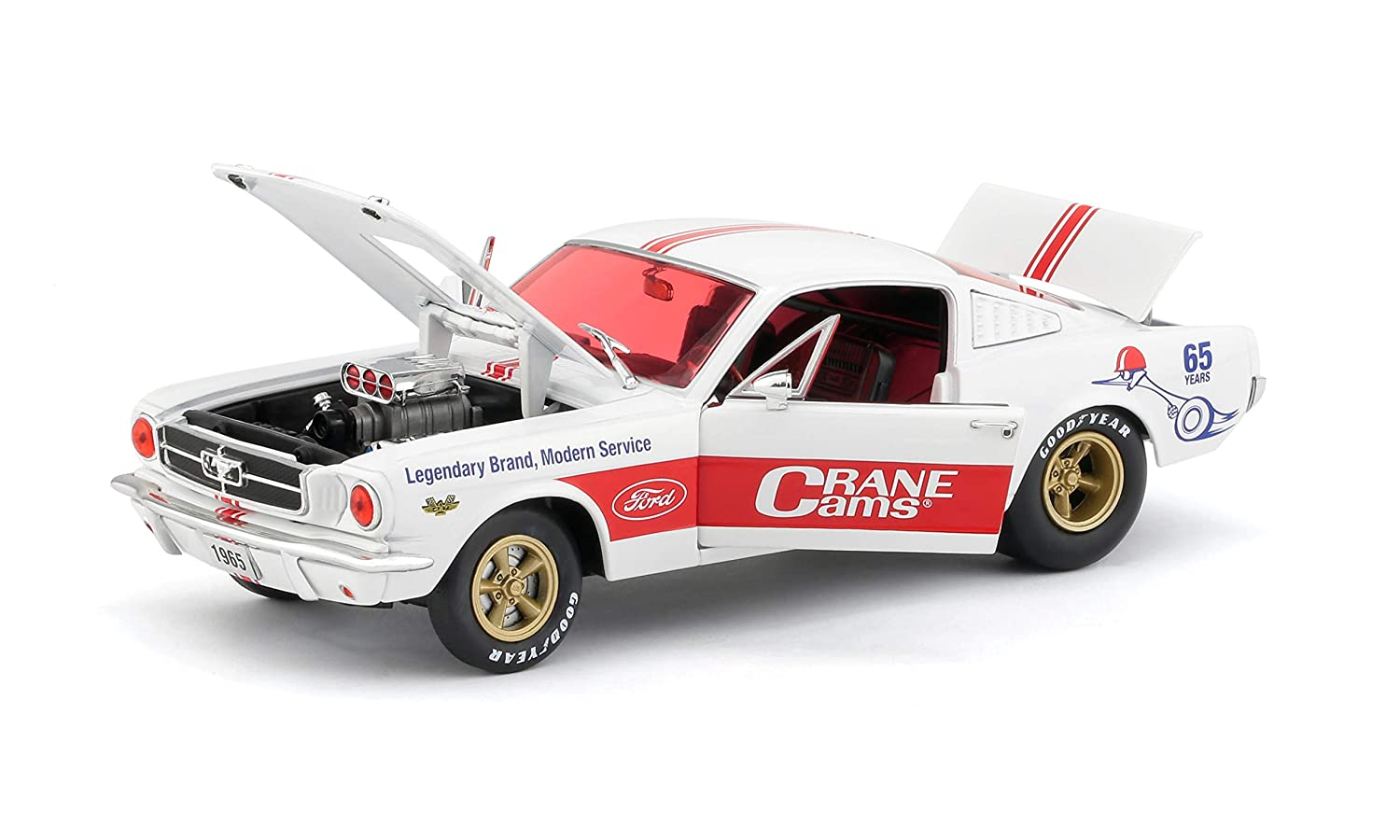 1965 ford mustang fastback 2 2crane cams white with red stripes limited edition to 5880 pieces worldwide 1 24 diecast model car by m2 machines 40300 68 a