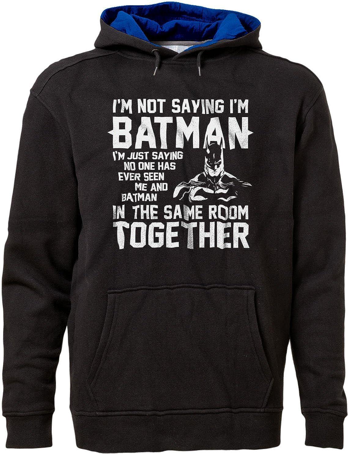 Man Super Hero Justice League Hoodie Black//Royal XS BSW Mens Im not Saying Im BAT