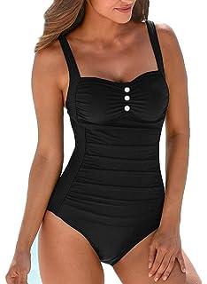 f55f32de10 Upopby Women s Retro Tummy Control One Piece Swimsuits Monokini Push Up Bathing  Suits Swimwear
