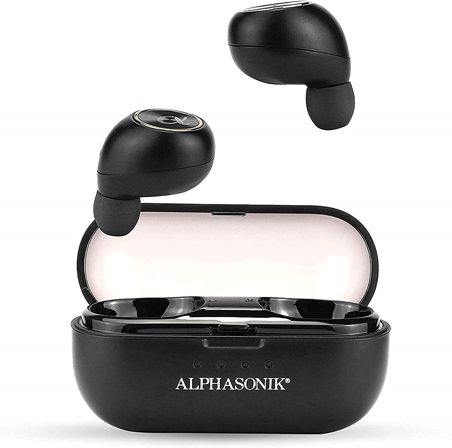 Alphasonik True Wireless Earbuds Bluetooth Noise Isolating Water-resistant Headphones Touch Control Sports in-Ear Earbud TWS Stereo Sound Mini Headset Built-in Mic Extra Bass Portable Charging Case