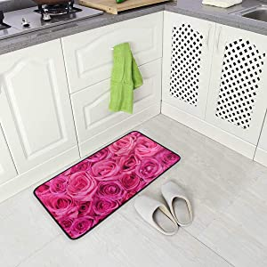 Anti Fatigue Kitchen Floor Mat, Non Slip Absorbent Comfort Standing Mat Soft Runner Rug for Hallway Entryway Bathroom Living Room Bedroom 39 x 20 in (Hot Pink Roses)