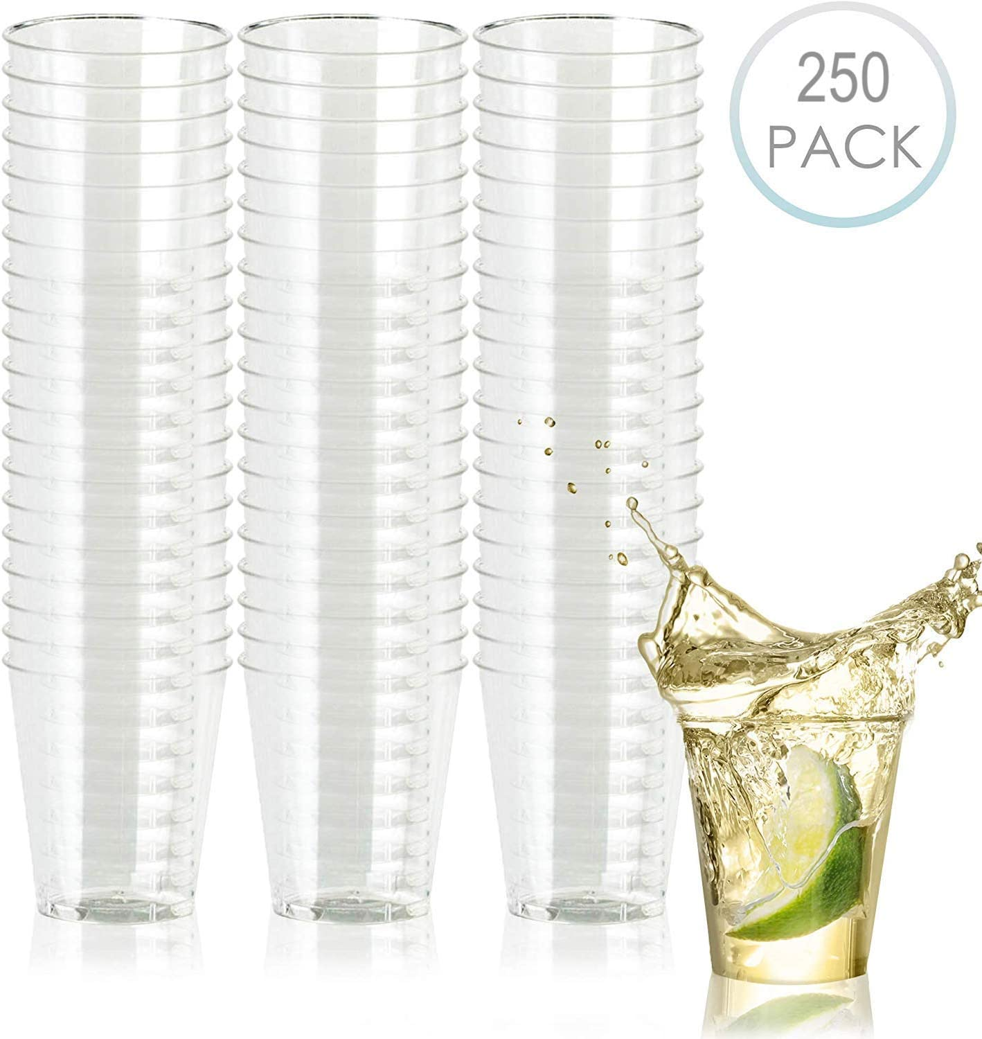 SHINE 100 Disposable plastic CLEAR Party Shot Glass,Essential Cup for all parties