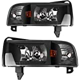 AUTOSAVER88 For 94 95 96 97 98 99 00 01 Dodge Ram 1500/2500/3500 Headlight Assembly,OE Projector Headlamp,Black housing,One-Year Limited Warranty(Pair)