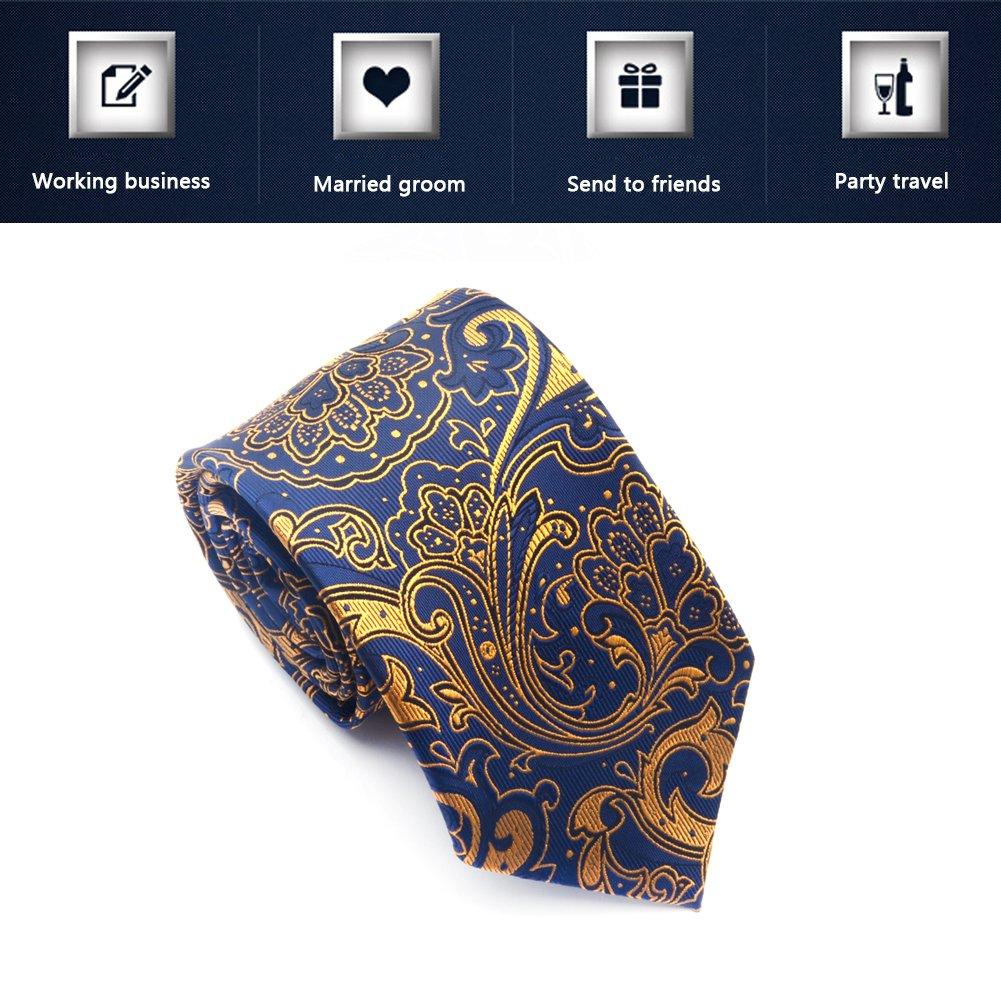 Paisley Ties for Men Jacquard Woven Necktie FXICAI Business Fashion Classic Casual Tie Bar Clip Set (Golden) by FXICAI (Image #5)