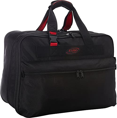 A.SAKS Luggage Lightweight Foldable Travel Packing Duffels Black Red, 21-inch