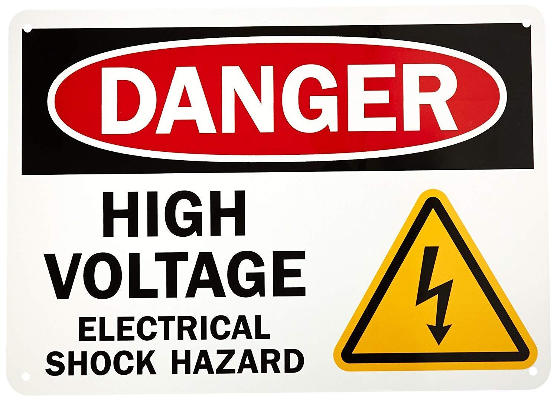 qidushop Panneau de Porte de s/écurit/é Danger Haute Tension Choc /électrique Hazard Noir Rouge sur Blanc d/écoratif de Jardin en m/étal Protection UV et /étanche Plaque 25/x 35/cm