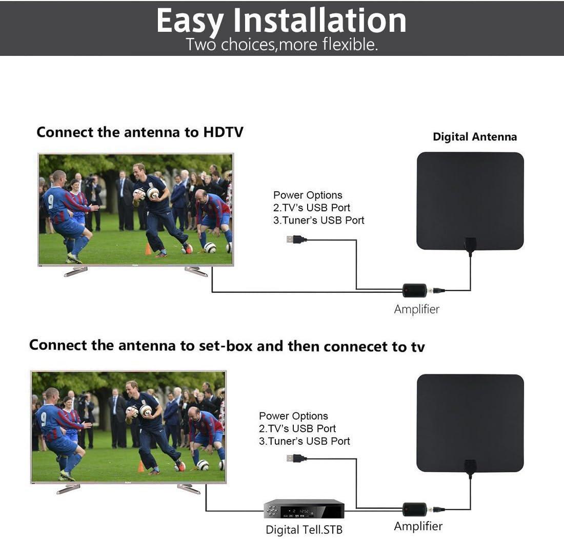 OVERBOX HDTV Antena Interior Digital Antena de TV Televisión Amplificador 50 Millas Alta recepción Adaptador Cable 4 Metros de Largo y Amplificador de ...