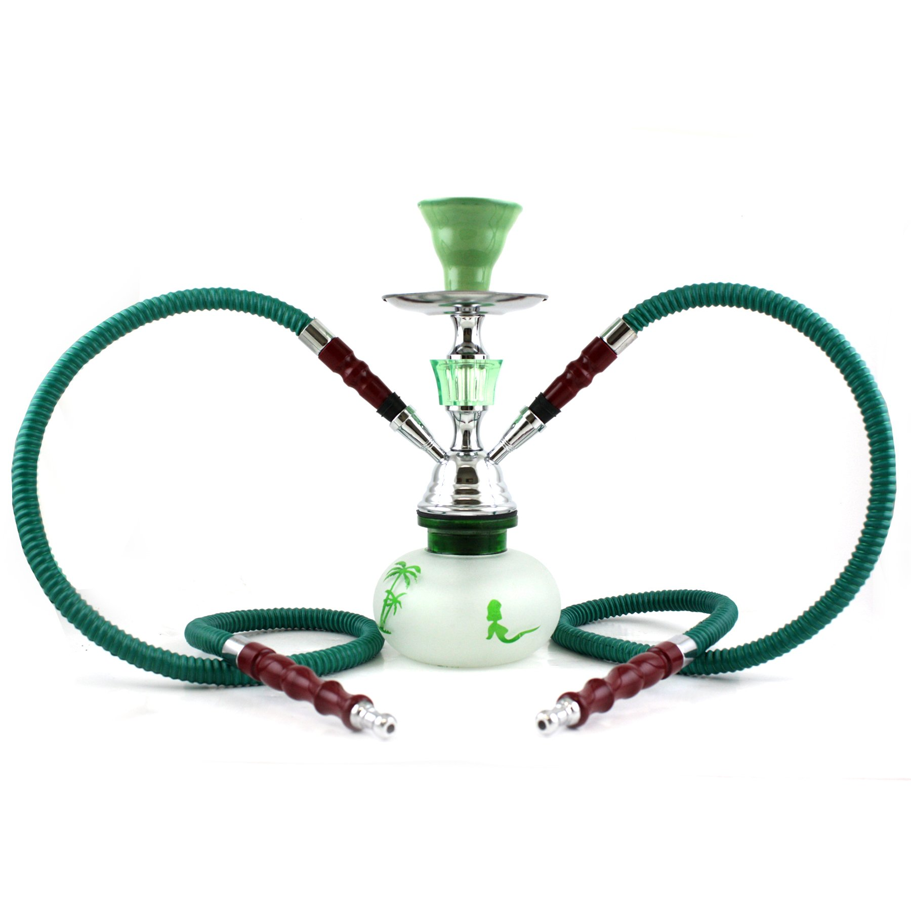 NeverXhale Pumpkin Series: 10'' 2 Hose Hookah Shisha - Pumpkin Glass Vase - Pick Your Color/Design (Green Oasis)