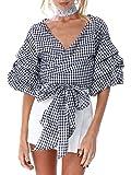 Simplee Apparel Women's Off Shoulder V Neck Wrap Blouse Shirt Waist Tie