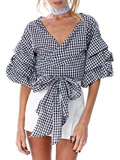 5678cb55a821 Amazon.com  ANGVNS Women s Off Shoulder V-Neck Bow Waist-tie Ruffle ...