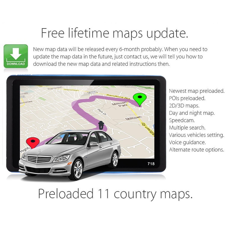 Navegaci/ón de 7 Pulgadas-Llamadas Manos Libres-Actualizaciones Gratis de Mapas EU de por Vida-Pantalla Capacitiva-Sistema de Navegaci/ón por Sat/élite XGODY GPS 718,Navegador para Coche y Cami/ón