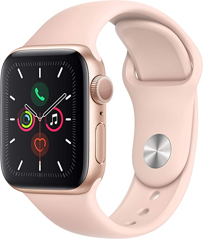 Image ofApple Watch Series 5 (GPS, 40 mm) Aluminio en Oro - Correa Deportiva Rosa Arena