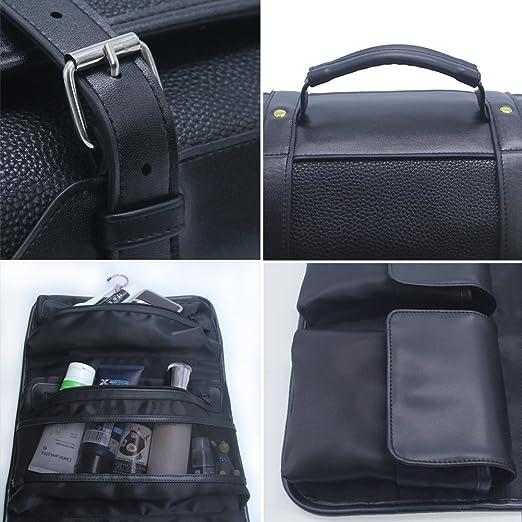 Amazon.com : Hanging Toiletry Bag for Men Leather Travel Shaving Dopp Kit Organizer with Portable Travel Kit Organizer Case Waterproof Leak Proof Travel ...