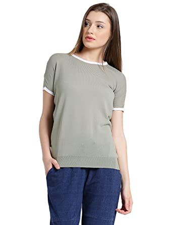 191275b105456 MANOLA Tops for Women in Western wear - Cotton Blend Material - Solid  Pullover Tshirt for Ladies - Women s Short Sleeves Top - Stylish Tops by  for Ladies ...
