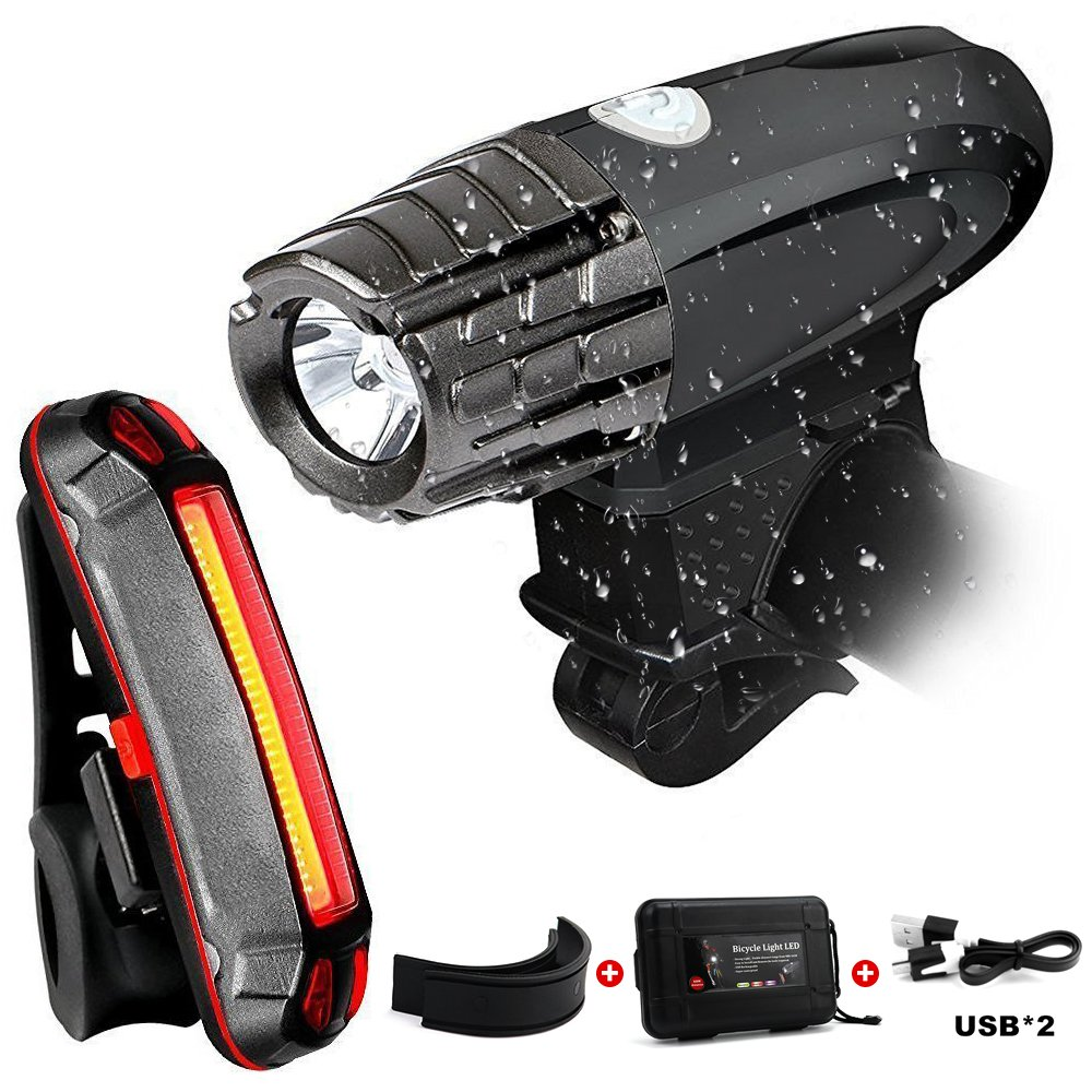 ATLES USB Rechargeable Bike Light Set - LED Bicycle Headlight and Free Tail Light, Waterproof IPX-5 Front and Rear Bike Lights for Safety Cycling