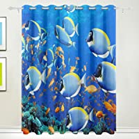COOSUN Fishes Underwater Ocean Sealife Blackout Curtains Darkening Thermal Insulated Polyester Grommet Top Blind Curtain for Bedroom, Living Room,2 Panel (55W x 84L Inch)